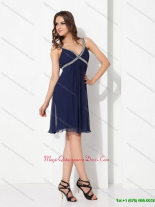 New Arrival Sequins Ruffled Navy Blue Perfect Dama Dresses for 2015