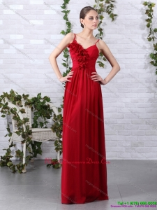 New Arrival Spaghetti Straps Long Dama Dresses with Ruching and Hand Made Flowers