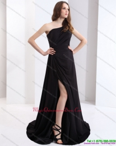 New Arrival 2015 One Shoulder Black Dama Dress with Ruching