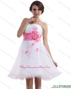 New Arrival 2015 Romantic Sweetheart White Dama Dress with Hand Made Flowers