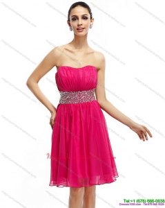 New Arrival Coral Red Strapless Dama Dresses with Ruching