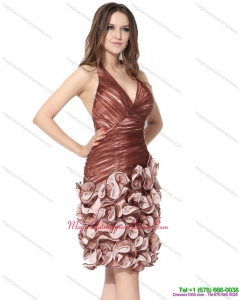 New Arrival Multi Color Halter Top Dama Dresses with Ruching and Hand Made Flowers