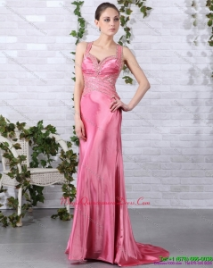 New Arrival Rose Pink Beading Dama Dresses with Brush Train