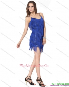 New Arrival Spaghetti Straps Short Dama Dresses with Sequins