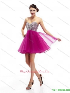 New Arrival and Beautiful Hot Pink Sweetheart Dama Dresses