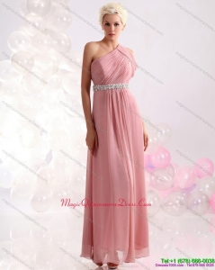 2015 New Arrival One Shoulder Dama Dress with Beading and Ruching