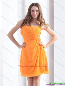 2015 New Arrival Strapless Orange Dama Dress with Hand Made Flowers and Ruching