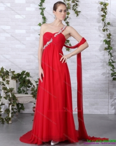 New Arrival 2015 One Shoulder Red Dama Dress with Beadings and Brush Train