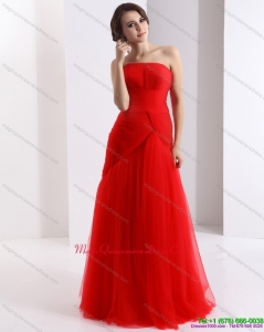 New Arrival Strapless Floor Length Ruching Dama Dress in Red