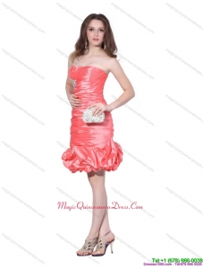 New Arrival Strapless Watermelon Red Dama Dress with Beadings and Ruching