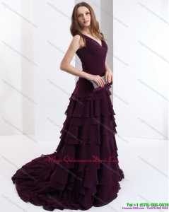New Arrival V Neck Dama Dress in Dark Purple for 2015