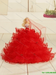 Red Bowknot Organza Barbie Doll Dress