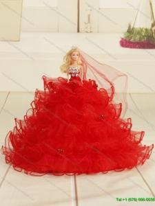 Red Bowknot Organza Barbie Doll Dress