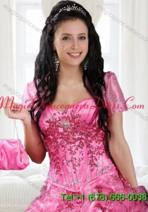 Elegant Hot Pink Open Front Quinceanera Jacket for Special Occasion