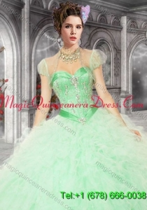 Pretty Organza with Beading and Ruffles Quinceanera Jacket