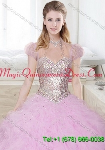 Beautiful Tulle Ruffls and Beading Quinceanera Jacket in Lilac