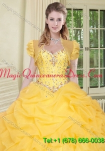Top Selling High Quality Instock Yellow Quinceanera Jacket with Beading and Ruffles