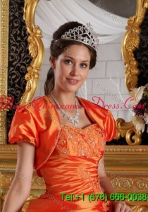 2015 Luxurious Short Sleeves and Open Front Quinceanera Jacket in Orange