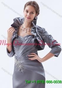 3/4 Sleeves Fold-over Collar Jacket in Grey