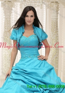 Elegant Teal Quinceanera Jacket Open Front For 2015