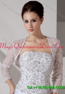 Embroidery 3/4 Sleeves Jacket With Lace
