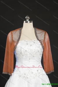2014 Fashionable Rust Red Long Sleeves Wraps with Beading