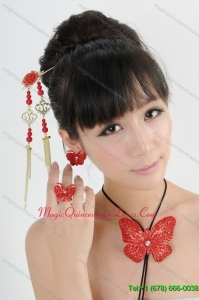 Gorgeous Red Vintage Style Alloy Ladies Jewelry Sets