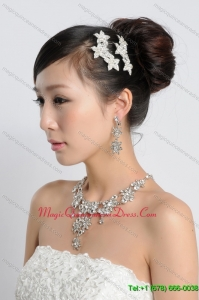 Star Shaped Shining Rhinestones Alloy Wedding Jewelry Set including Necklace and Earrings