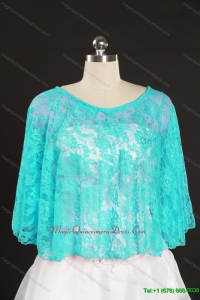 Beading Lace Hot Sale Aqua Blue Wraps for 2014
