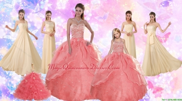 2015 Perfect Beading Sweetheart Quinceanera Dress and Ruching Long Prom Dresses and Watermelon Halter Top Little Girl Dress