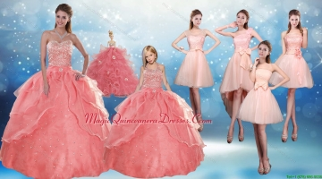 2015 Perfect Sweetheart Beading Quinceanera Dress and Cute Bownot Prom Dresses and Halter Top Watermelon Little Girl Dress