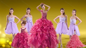 New Style One Shoulder Beading Sweet 16 Dress and Sweetheart Beading Short Dama Dresses and Ruffles Beading Little Girl Dress