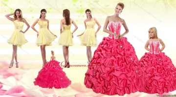 2015 Pick Ups Red Quinceanera Dress and Yellow One Shoulder Prom Dresses and Cute Red Little Girl Dress