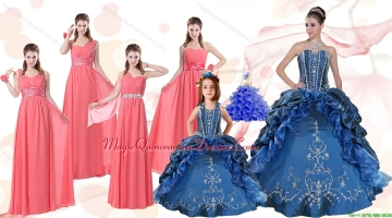 Elegant Ruffles and Embroidery Quinceanera Gown and Watermelon Long Prom Dresses and Embroidery Little Girl Dress