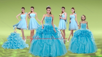 Pick Ups and Embriodery Baby Blue Quinceanera Dress and Ruching Short Dama Dresses and Embroidery Baby Blue Little Girl Dress