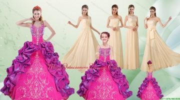Spaghetti Straps Multi Color Quinceanera Dress and Long Ruching Dama Dresses and Ruffels and Embroidery Little Girl Dress