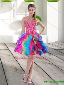 Classical Beading and Ruffles Organza 2015 Dama Dress in Multi Color