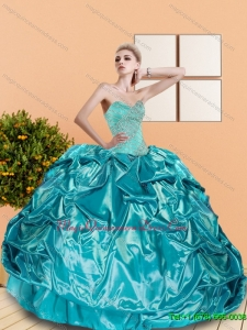 2015 Custom Made Sweetheart Teal Quinceanera Dresses with Beading and Pick Ups