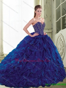 Custom Made 2015 Sweetheart Beading and Ruffles Navy Blue Quinceanera Dresses