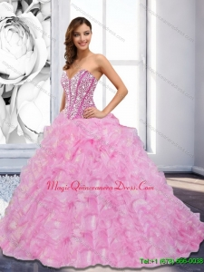 Custom Made 2015 Sweetheart Beading and Ruffles Rose Pink Quinceanera Dresses