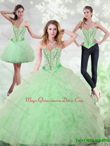 2015 Hot Sale Beading and Ruffles Sweetheart Quinceanera Gown in Apple Green