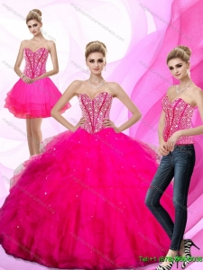 Hot Sale 2015 Beading and Ruffles Sweetheart Quinceanera Dresses