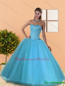 Hot Sale Beading Sweetheart Blue Quinceanera Dresses for 2015