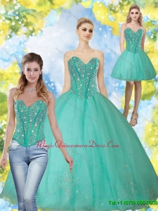 2015 Luxury Beading and Appliques Turquoise Sweetheart Quinceanera Dresses