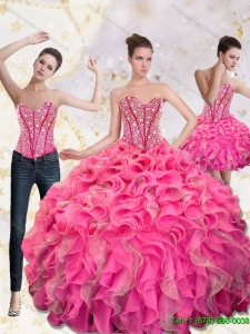 2015 Luxury Sweetheart Quinceanera Gown with Beading and Ruffles