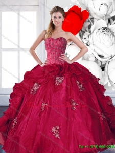2015 Romantic Sweetheart Beading and Ruffles Quinceanera Gown with Appliques