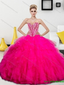 Luxury Beading and Ruffles Sweetheart 2015 Quinceanera Dresses
