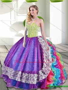 Luxury Multi Color Sweetheart Beading and Ruffles 2015 Quinceanera Dresses