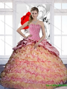 Luxury Pick Ups and Ruffles Sweetheart 2015 Quinceanera Dresses in Multi Color