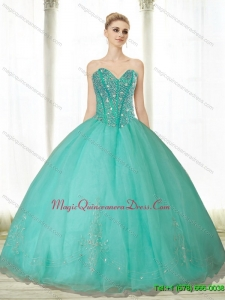 Puffy Beading and Appliques Turquoise Sweetheart Quinceanera Dresses for 2015